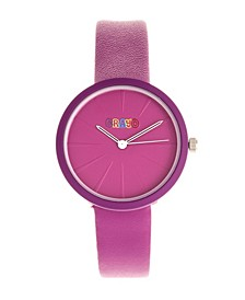 Unisex Blade Purple Leatherette Strap Watch 37mm