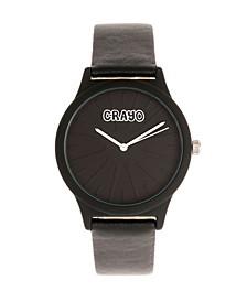 Unisex Splat Black Leatherette Strap Watch 38mm