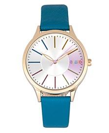 Unisex Gel Blue Leatherette Strap Watch 35mm