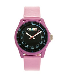 Unisex Jolt Light Pink Leatherette Strap Watch 34mm