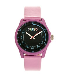 Crayo Unisex Jolt Light Pink Leatherette Strap Watch 34mm