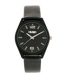 Unisex Dynamic Black Leatherette Strap Watch 36mm