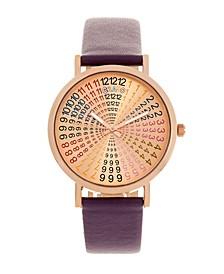 Unisex Fortune Plum Genuine Leather Strap Watch 38mm