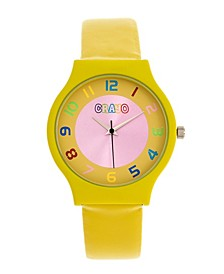 Unisex Jubilee Yellow Leatherette Strap Watch 36mm