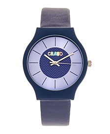 Unisex Trinity Blue Leatherette Strap Watch 36mm