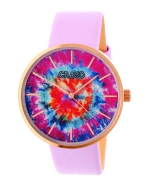 Unisex Swirl Lavender Leatherette Strap Watch 42mm