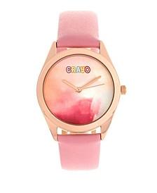Unisex Graffiti Light Pink Genuine Leather Strap Watch 35mm