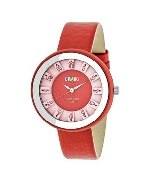 Unisex Celebration Red Genuine Leather Strap Watch 38mm