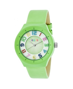 Unisex Atomic Lime Genuine Leather Strap Watch 36mm