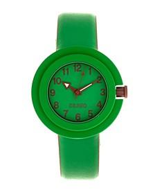 Unisex Equinox Green, Brown Leatherette Strap Watch 40mm