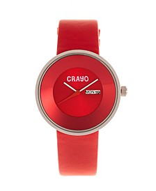 Unisex Pride Red Genuine Leather Strap Watch 40mm