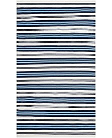 Leopold Stripe LRL2462B White and French Blue 9' X 12' Area Rug