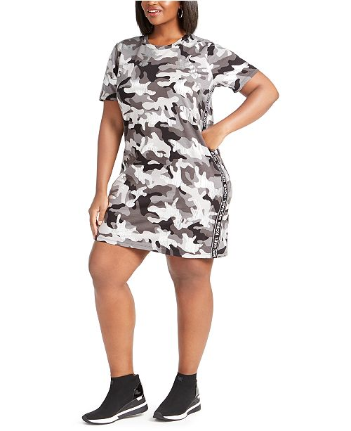 Michael Kors Plus Size Cotton Camo Print T-Shirt Dress ...