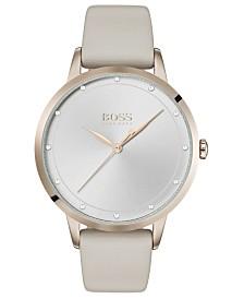 BOSS Women's Twilight Tan Gray Leather Strap Watch 36mm