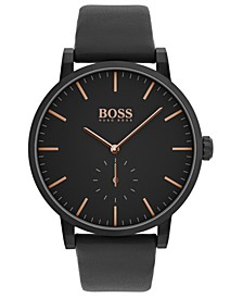 Men's Chronograph Essence Black Leather Strap Watch 42mm