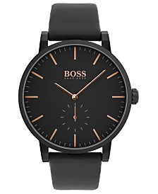 BOSS Men's Chronograph Essence Black Leather Strap Watch 42mm