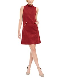 Faux-Suede Mock-Neck Sheath Dress