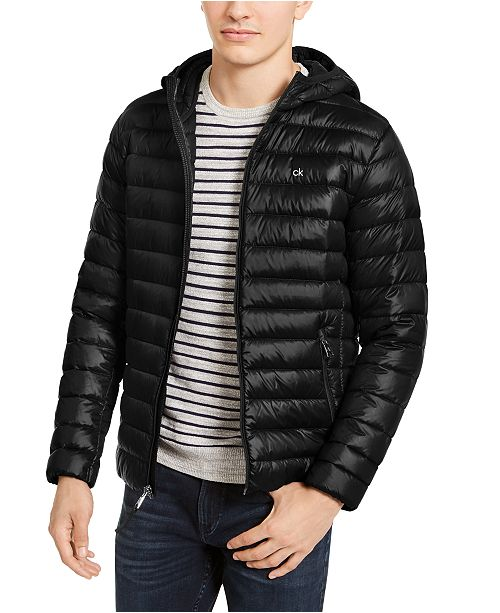 Calvin Klein Men's Big & Tall Packable Down Hooded Puffer Jacket, Created For Macy's