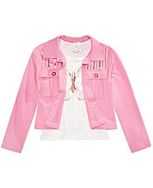 Big Girls Sequined Butterfly T-Shirt & Jacket