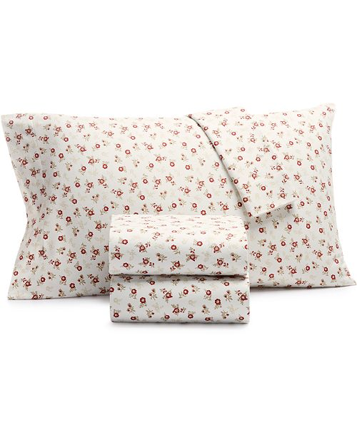 Martha Stewart Collection CLOSEOUT! Printed 100% Cotton Flannel Pair of Standard Pillowcases, Created for Macy's