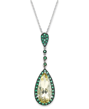 Sterling Silver Necklace, Lemon Quartz (5 ct. t.w.) and Green Swarovski Zirconia ( 7/8 ct. t.w.) Drop Pendant