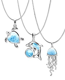 Marahlago Seaside Larimar Jewelry Collection in Sterling Silver
