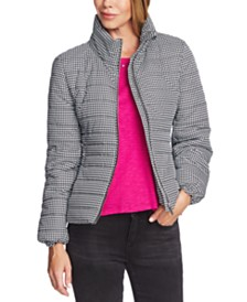 Vince Camuto Houndstooth-Print Puffer Jacket