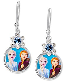 Children's Crystal Frozen Anna & Elsa Portrait Drop Earrings in Sterling Silver