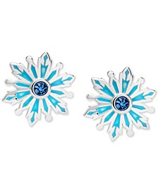 Children's Frozen Crystal Snowflake Stud Earrings in Sterling Silver