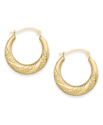 Macy S Swirl Hoop Earrings In 10k Gold Jewelry Watches