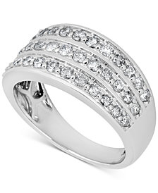 Diamond Three Row Band (1 ct. t.w.) in 14k White Gold