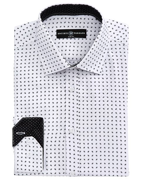 Society of Threads Men's Slim-Fit Performance Quad Diamond Dress Shirt