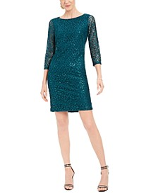 Petite Sequined-Lace Dress