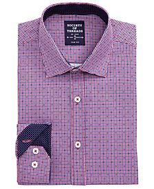 Men's Slim-Fit Non-Iron Performance Stretch Navy/Red Check Dress Shirt