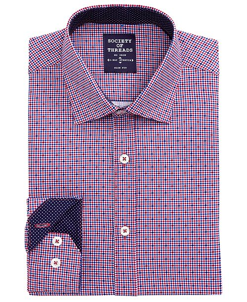 Society of Threads Men's Slim-Fit Non-Iron Performance Stretch Navy/Red Check Dress Shirt