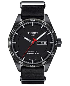 LIMITED EDITION Swiss T-Sport Powermatic 80 Black Fabric Strap Watch 42mm, Created for Macy's