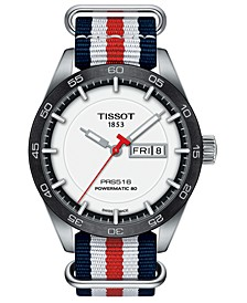LIMITED EDITION Swiss T-Sport Powermatic 80 Red, White & Blue Fabric Strap Watch 42mm, Created for Macy's