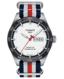 LIMITED EDITION Tissot Swiss T-Sport Powermatic 80 Red, White & Blue Fabric Strap Watch 42mm, Created for Macy's