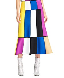 Colorblocked Midi Skirt