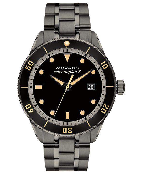 Movado Men's Swiss Heritage Series Calendoplan Gunmetal Ion-Plated Stainless Steel Bracelet Watch 43mm