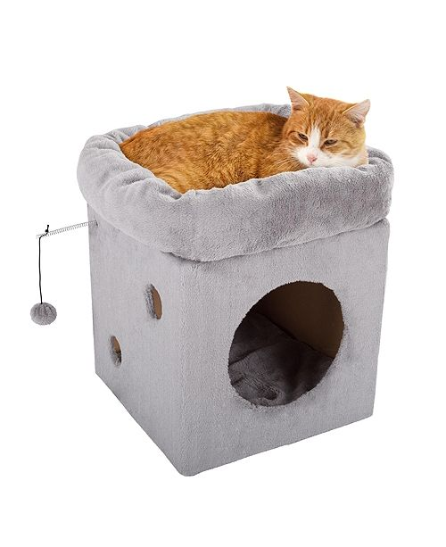 PetMaker Cat Pet Bed/House with 2 Removable Plush Cushion Pad