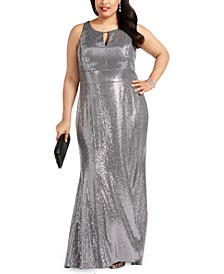 Plus Size Metallic Gown