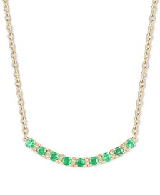 """Ruby (1-1/5 ct. t.w.) & Diamond (1/20 ct. t.w.) Curved Bar 17"""" Pendant Necklace in 14k Gold (Also in Sapphire & Emerald)"""