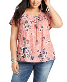 Style & Co Plus Size Floral Print Top, Created For Macy's