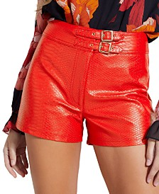 GUESS Rosetta Snake-Embossed Faux-Leather Shorts
