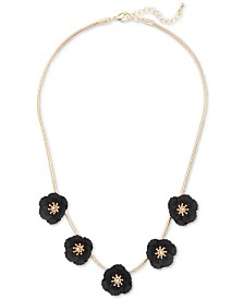 """Zenzii Gold-Tone & Suede-Painted-Finished Flower Collar Necklace, 17"""" + 2"""" extender"""