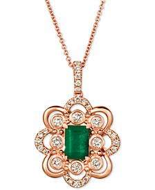 "Costa Smeralda Emerald (5/8 ct. t.w.) & Nude Diamond (3/8 ct. t.w.) 20"" Pendant Necklace in 14k Rose Gold"