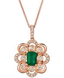 """Le Vian® Costa Smeralda Emerald (5/8 ct. t.w.) & Nude Diamond (3/8 ct. t.w.) 20"""" Pendant Necklace in 14k Rose Gold"""