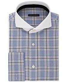 Men's Tall Classic/Regular Fit Blue Plaid French Cuff Dress Shirt