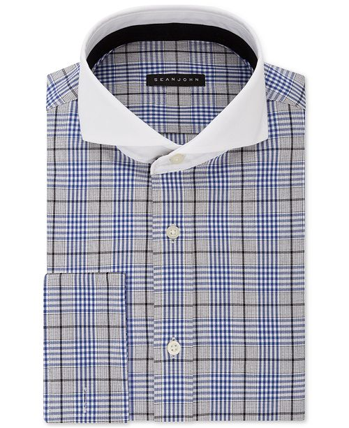 Sean John Men's Tall Classic/Regular Fit Blue Plaid French Cuff Dress Shirt